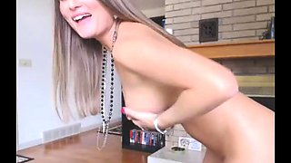 Busty babe oiled babe with big boobs masturbating on cam
