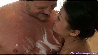 Brutal American stud fucks curvy Asian sex doll Jackie Lin in massage parlor tough