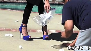 Glamour sweetheart has serf lick shoes and punishes hard
