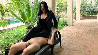 Mistress in leather pants facesitting and smoking