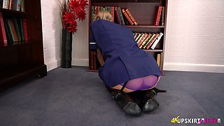 Leggy maid in stockings and uniform Jayne teases with her panties upskirt