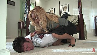 Blonde Tackles and Ties Him To the Bed to Fuck His Ass with Strapon