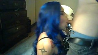 crossdresser with blue hair sucks