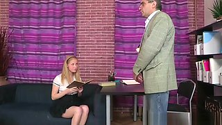 Old teacher fucks the blonde schoolgirl in the couch