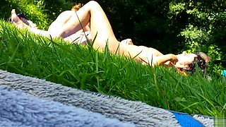 Russian mature nudists expose their private parts