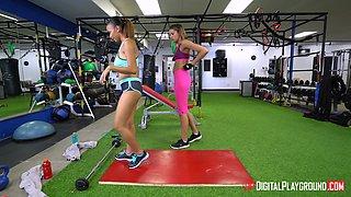 Eve Ellwood and Raven Redmond enjoy a lesbian fuck in a gym