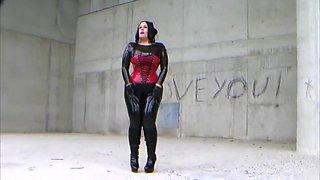 Vampira Latex Doll in Public - Blowjob Handjob with Latex Gloves - Cum on my Gloves