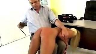 Busty Blonde Girl Getting Her Ass Spanked With Slappers And Stick By Old Man In The Office
