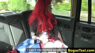 Redhead schoolgirl pussyfucked in back of cab