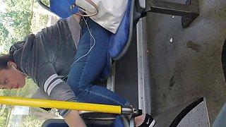 Candid big tit blonde on bus