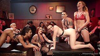 Mistress Kara & Mona Wales & Bella Rossi & Kira Noir in Dyke Bar Live - WhippedAss