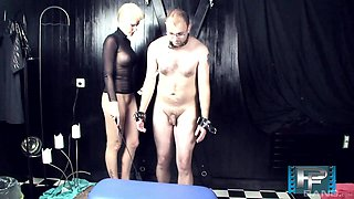 Blonde mistress Scarlet Young fucks both of her male sex slaves
