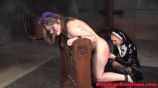 Cuffed bdsm sub gets panty insertion in trio