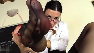 Teacher in stockings punishes your foot fetish with her Stra