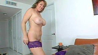 Busty horny mom rubbing her snatch in shower