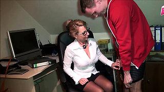 German amateur mature secretary fuck boy in office
