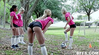 Lusty sporty Latina nymphos take a chance to swap BFs for steamy fuck