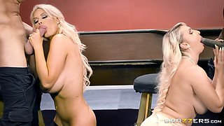 bridgette b and nina kayy suck two big rods as their husbands are made to watch