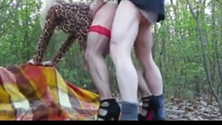 Amateur Crossdresser Enjoys Threesome Sex in the Woods