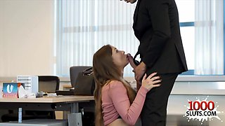 Brunette secretary sex and cumshot
