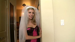 Sexy bride talks her man into having sex with her before their wedding