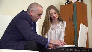 Teacher fucks young slim Russian student in 4K Video 1