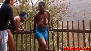 african sex slaves are getting ready for a rough anal drive with their nipples squeezed