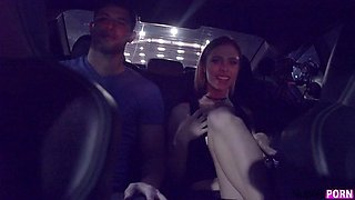 Back seat suck and fuck off with young brunette