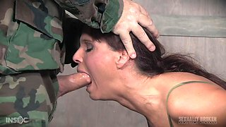 Mature chubby slave girl Syren De Mer abused by an army man hardcore