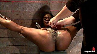 Kelli Provocateur in Kelli Provocateur - Ebony Body Builder - Mercilessly Dominated - HogTied