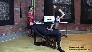 devious mistress uses machine to merciless milk male slave