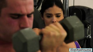 Nympho latina fucking a guy in the gym