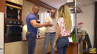 Naughty Hungarian blonde Monique Woods is cheating on her BF with his stepdad