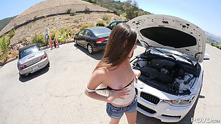 To pay kind dude for the help with the car lusty Arielle Faye gives BJ
