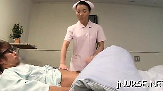 Needy oriental nurse removes undies for lustful patient