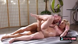 oiled up babe pounded with fat cock