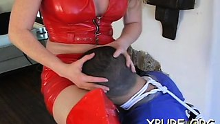 Sexy dominas make a helpless guy do foot and a-hole worship