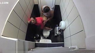 Hidden camera caught secretary fuck her boss in the office toilet. 4K