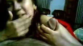Slutty Indian maid with ugly smile is sucking hard dick of a landlord