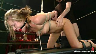 Bounded Cali Lakai gets fisted and then fucked hard