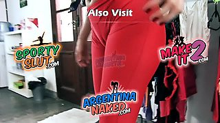 ASS PERFECTION and DEEP CAMELTOE Brunette Babe Spandex Pants