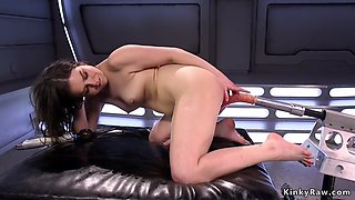 Petite babe shoves machine in oiled ass