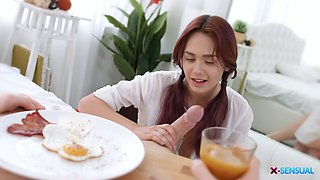 Pigtailed red haired girl Michelle Can gives a blowjob in the morning and gets fucked