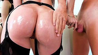 Busty babe Kiss Sins enjoys getting ass oiled and analed