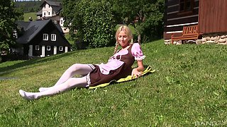 Teen blonde model with pigtails Karol Lilien masturbates with toys