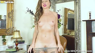 Brunette French Chloe takes down pantyhose and fingers her hairy wet pussy