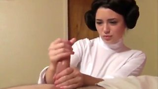 Princess Leia Cosplay HandJob by 19 Year Old Babysitter