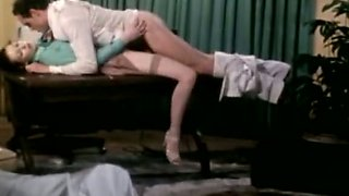 Wonderful brunette nympho Annette Haven gets her pussy fucked on the table