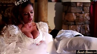 Busty milf fucked deeply in wedding dress