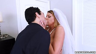 busty bride brooklyn chase sucks cock before wedding